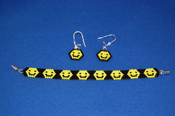 Smiley Face Bracelet & Earrings Set