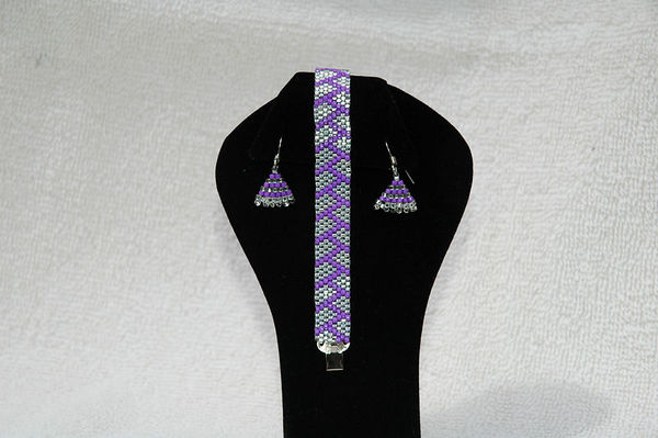 Violet & Silver With Matching Earrings