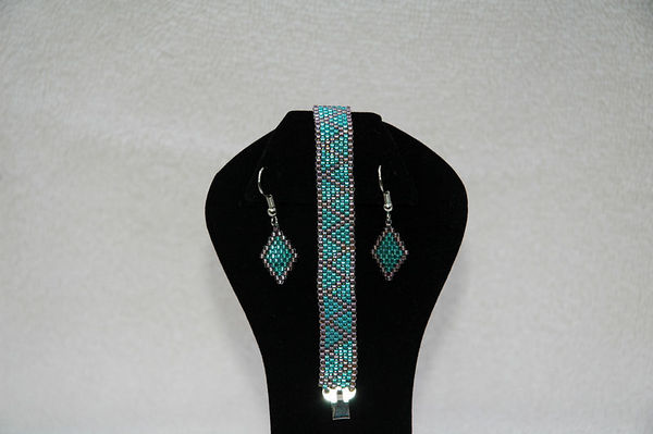 Teal Green & Silver Rose With Matching Earrings
