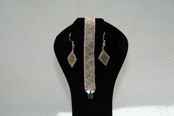 Yellow Mist (Lemon-Lime) & Neon Pink With Matching Earrings